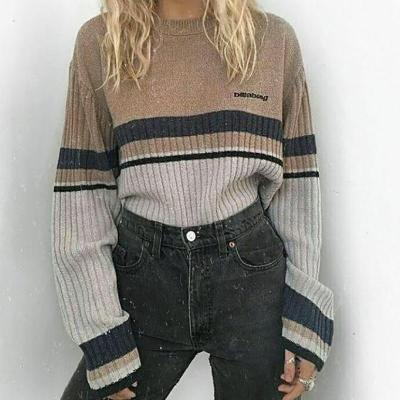 Casual Round Neck Contrast Striped Sweater