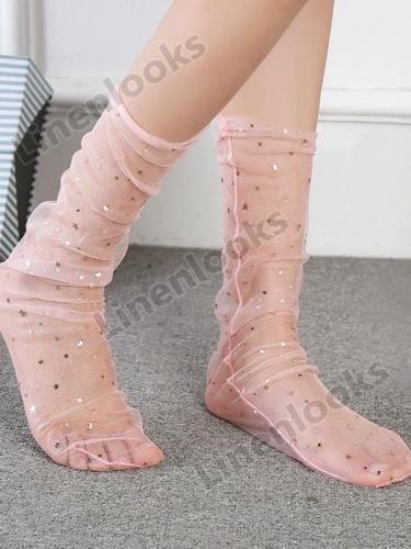 Sequined Gauze Socks Women Mesh Star Stocking