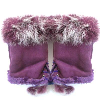 Fashion Suede Leather Gloves faux Rabbit Hair Wrist Fingerless Mittens