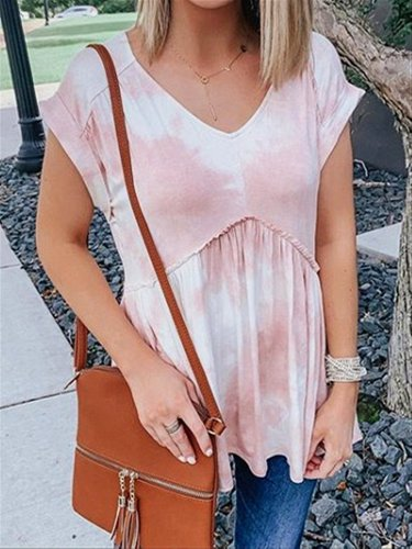 Pink Tie Dyeing Casual V-neck Cotton Top