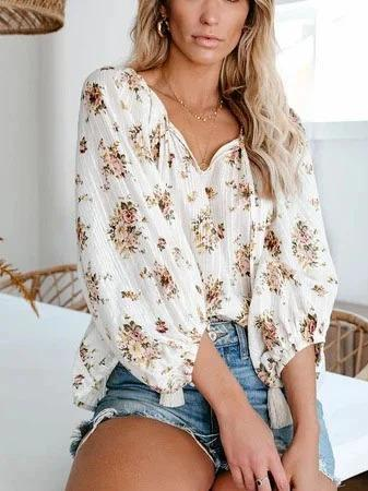 Casual V Neck Floral Shirts & Tops