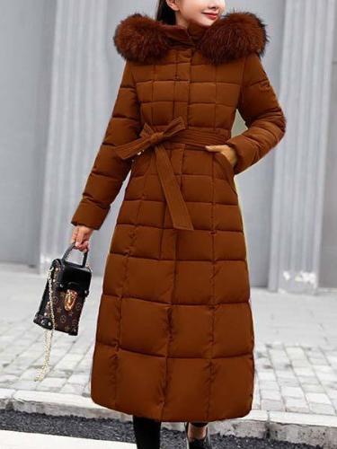 Womens Winter Long Coats Plus Size Fur Collar Down Coats
