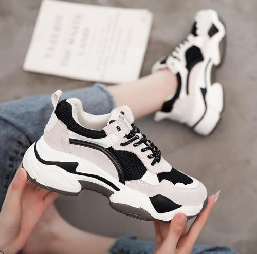 Contrast Thick-Soled Breathable Casual Sneakers
