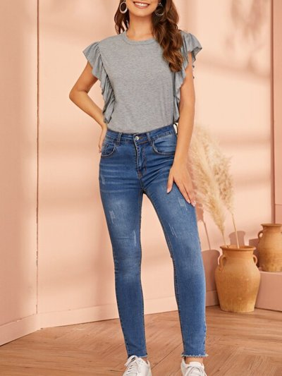 Plus Size Women Frill Sleeve Round Neck Solid Casual Tops