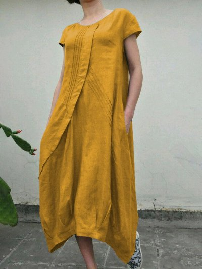 Summer Linen  Pockets Pleated Swing Solid Dresses