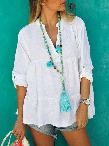 White 3/4 Sleeve Cotton-Blend V Neck Shirts & Tops