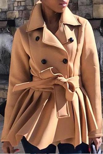 Fashion Turndown Collar Splicing Pure Colour Coat