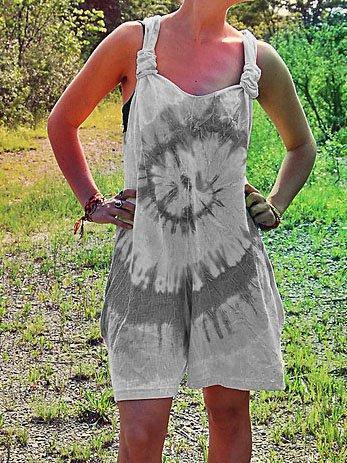 Women's Casual Tie Dye Sleeveless Summer Wide Leg Loose Short Jumpsuit Rompers