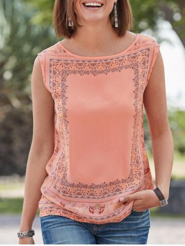 Chiffon Casual Printed Sleeveless Shirts & Tops