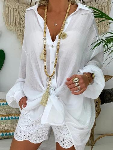 Shirt Collar Casual Plain Blouse