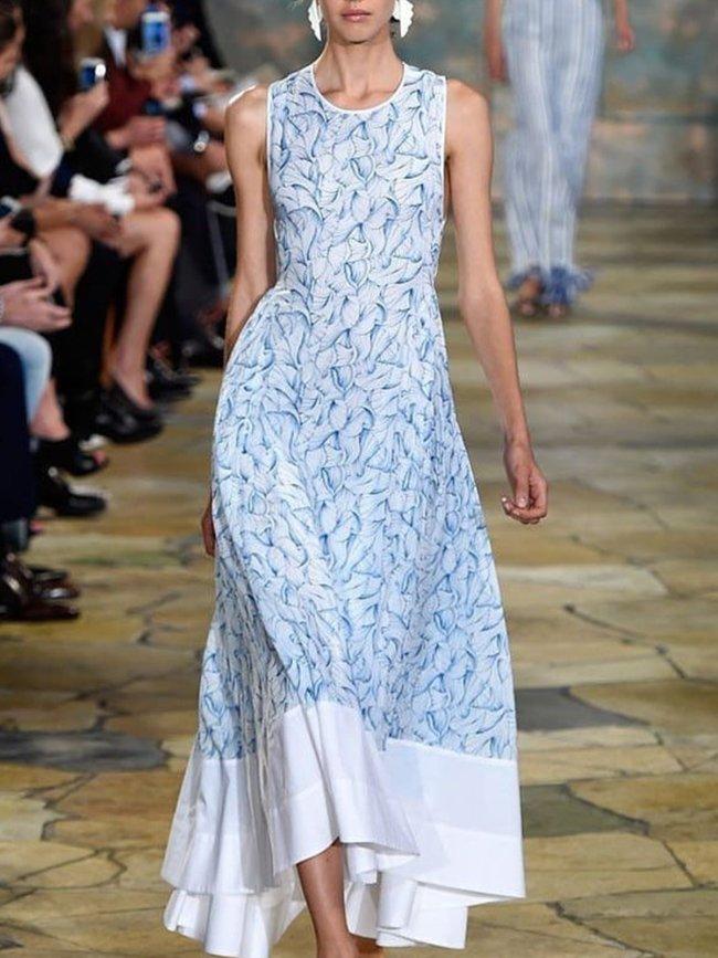 Casual loose printed lady dress