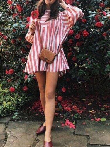 Striped Balloon Sleeve Boho Round Neck Casual Dresses