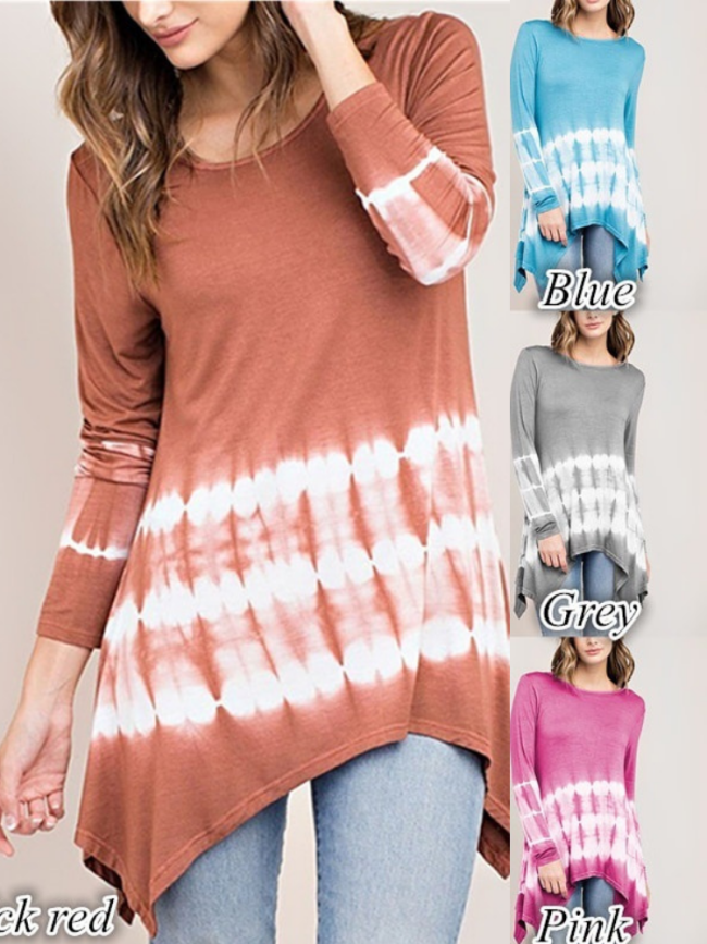 Casual  Crew Neck Ombre Long Sleeve T-Shirt