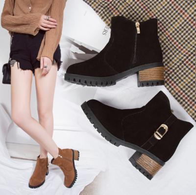 Brown Zipper Business Chunky Heel Suede Boots
