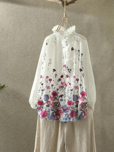 Beige Pastoral Floral Shirts & Tops