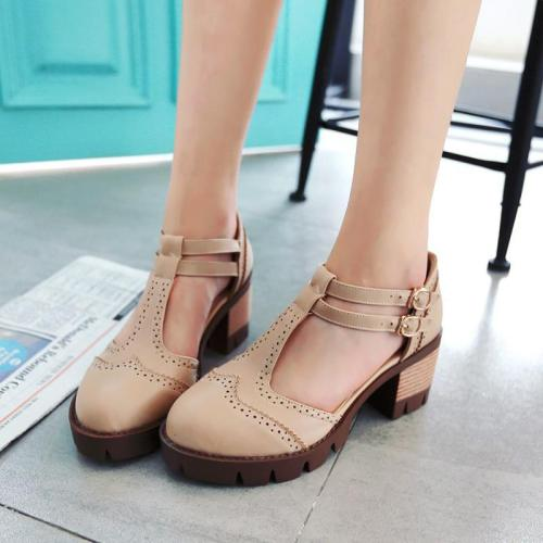 Adjustable Buckle Chunky Heel Casual Women Sandals