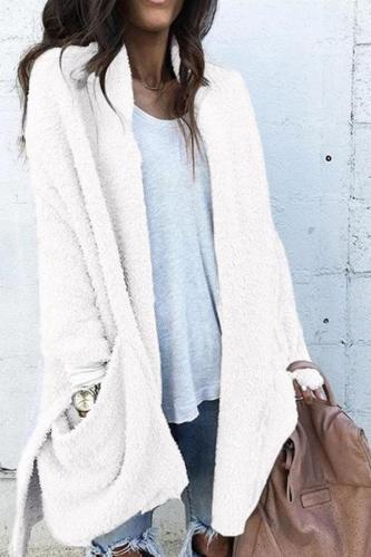 Fashion Splicing Long Fluffy Coat