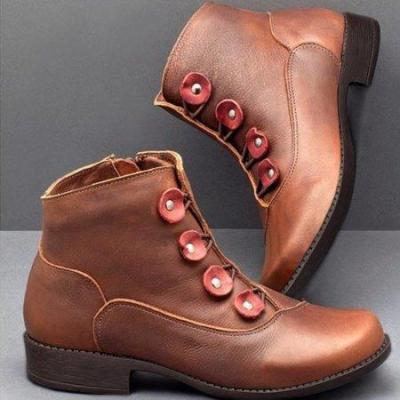 Women Button Leather Ankle Booties Shoes