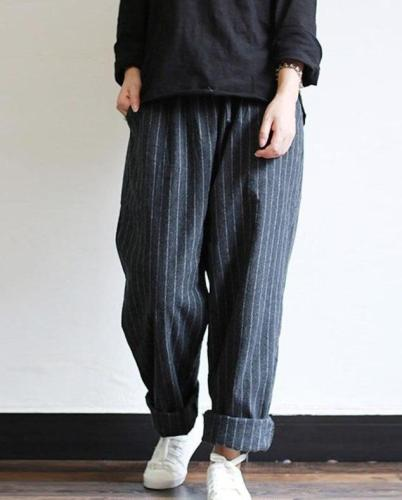 Striped Pants Oversized Casual Baggy Turnip Long Pantalon Palazzo Autumn Elastic Waist Retro Harem Pants 5XL