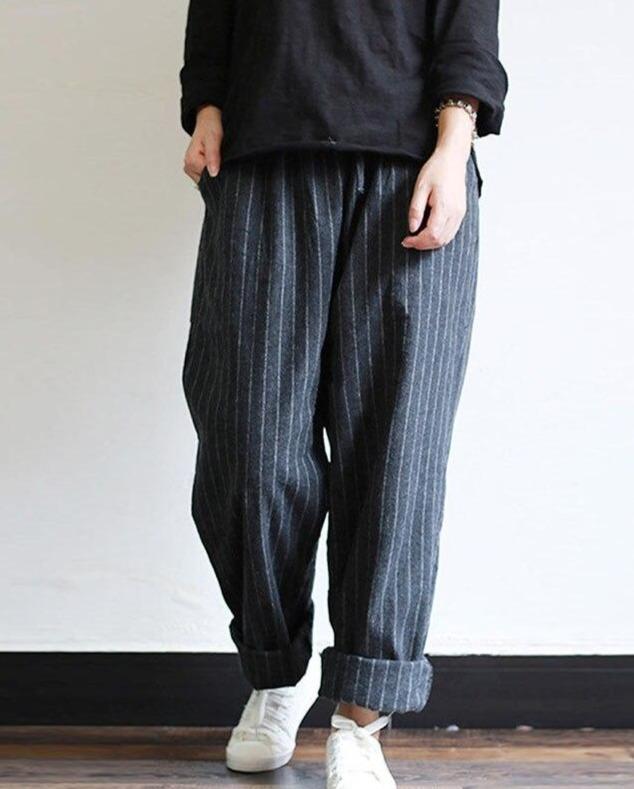 Striped Pants Oversized Casual Baggy Turnip Long Pantalon Palazzo Autumn Elastic Waist Retro Harem Pants 5XL