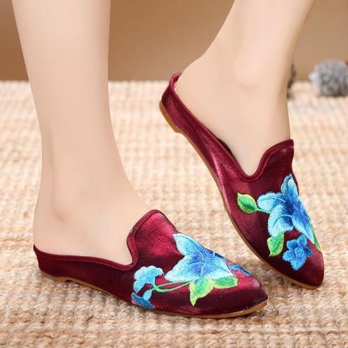 Women Floral Embroidered Slippers Casual Comfort Elegant Shoes