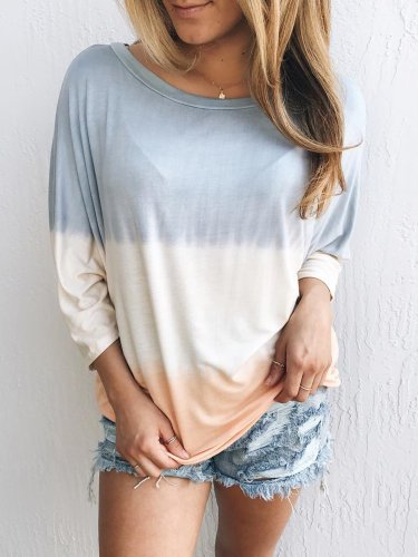 Plus Size Women Long Sleeves Round Neck Striped Floral Casual Tops