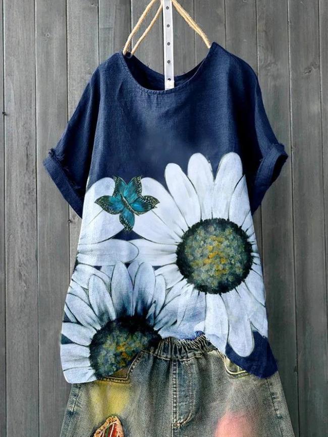 Deep Blue Pastoral Floral Shirts & Tops