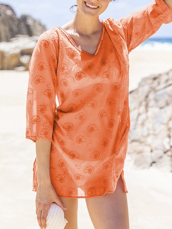 Plus Size Casual 3/4 Sleeve V Neck Shirts & Tops