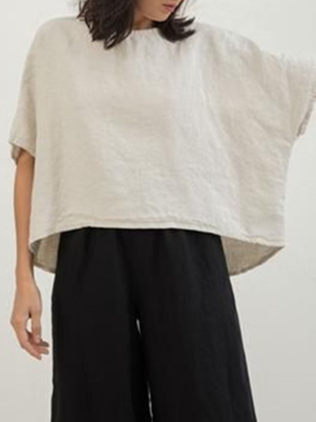 Cream Crew Neck Half Sleeve Shirts & Tops