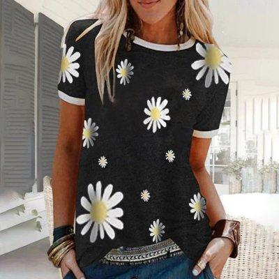 Adisputent 5XL Women Blouses Print O Neck Blouse Shirt Summer 2020 Sexy Short Sleeve Loose Cotton Linen Shirts Tops