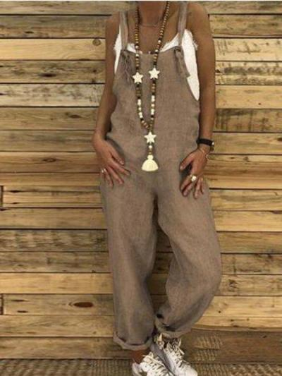 Basic Solid Casual Linen Comfortable Jumpsuit