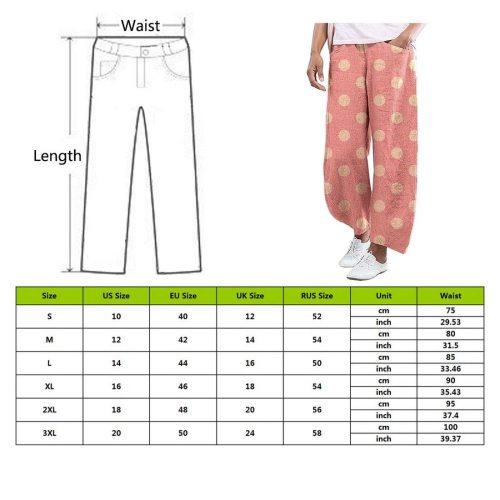 Dot Printed Pants Trousers Women Cotton Linen Wide Pants Elastic Waist Loose Pantalon Plus Size Pant