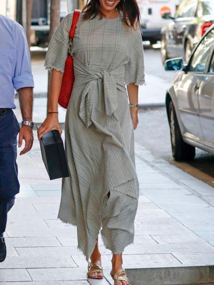 Light Gray Cotton-Blend Checkered/plaid Vintage Short Sleeve Dresses