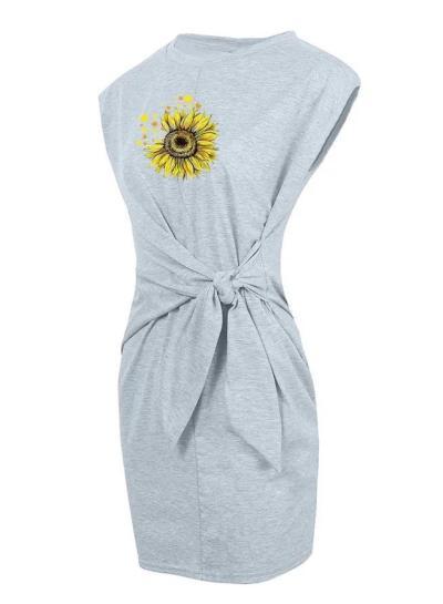 Sunflower Print Casual Crew Neck Dresses