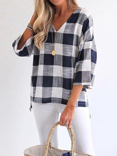 Women Casual Plaid Tops Tunic Blouse Shirt