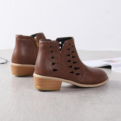 Women Spring Low Heel Booties Hollow-out Zipper Daily Shoes
