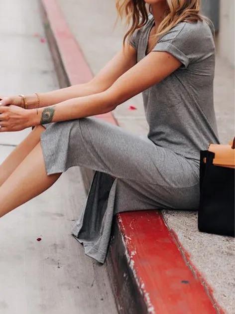 Gray Vintage Short Sleeve Dresses