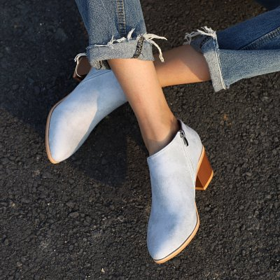 Women Cowhide Leather Martin Booties Plus Size Chunky Heel Shoes