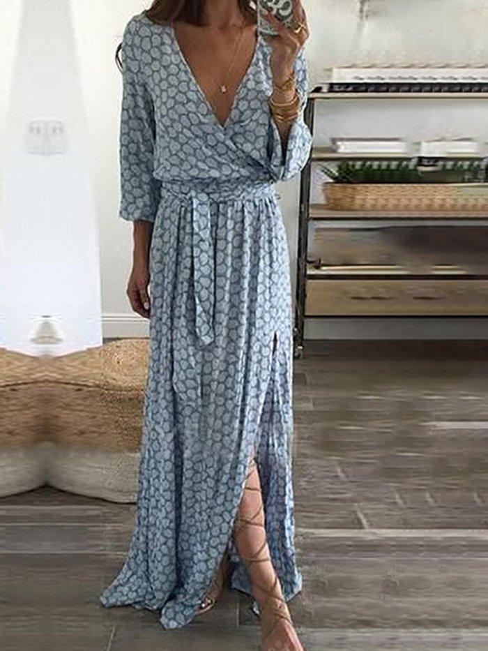Light Blue Elegant Polyester Casual Dress