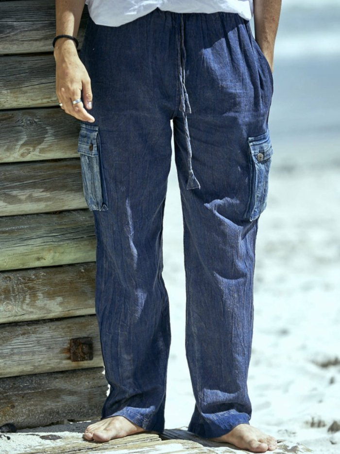 Casual Vintage Solid Pants