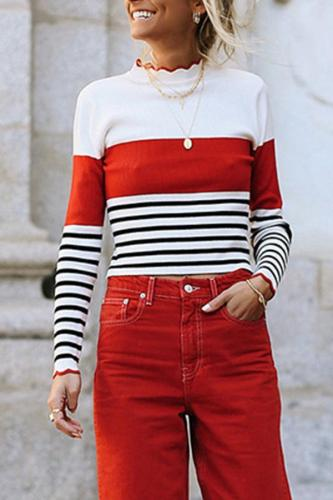 Striped Contrast Round Neck Lotus Leaf Knit   Sweater