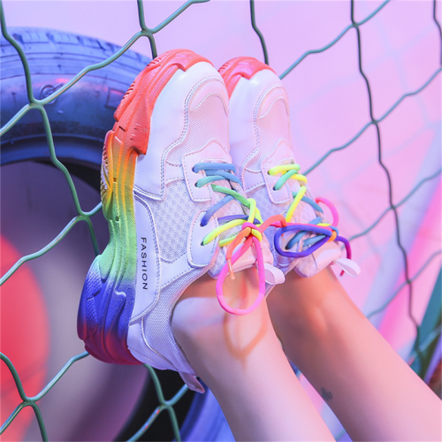 Women's fashion rainbow color breathable sneakers