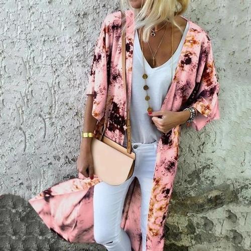 Fashion Abstract Style Print Long Sleeve Cardigan
