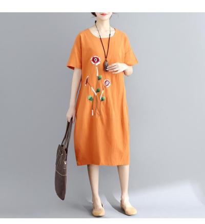 Women Summer Short Sleeve Soft Cotton Linen Embroidery Floral Vintage Plus Size Casual Dress