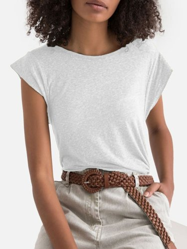 Solid Short Sleeve Sweet Cotton Shirts & Tops
