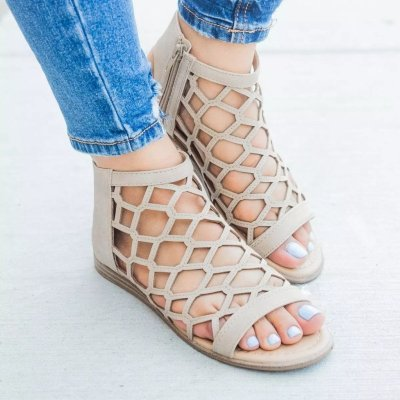 Women Zipper Strappy Open Toe Plain Hollow Flat Sandals