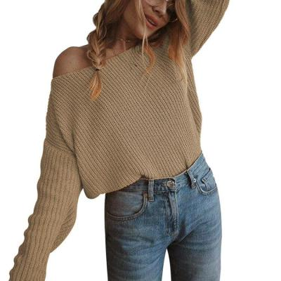 Autumn Women Pullovers Loose Knitted Off Shoulder Sexy Sweater Jumper Knitwear Collar Strapless Pullover Sweater Plus Size