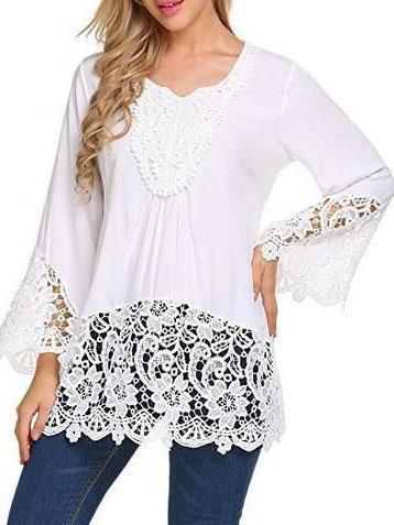 Solid Casual Bell Sleeve Round Neck Shirts & Tops