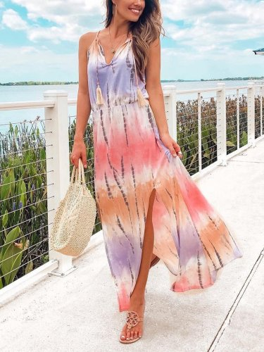 Striped sleeveless beach holiday maxi dresses
