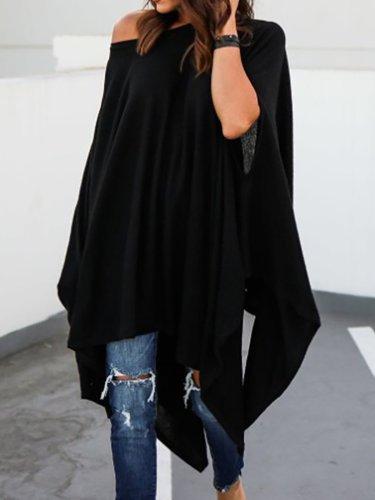 Short Sleeve One Shoulder Cotton Solid T-Shirt